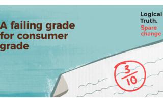 Postcard Sparechange 2 tile - Logical Truth - A failing grade for a consumer grade