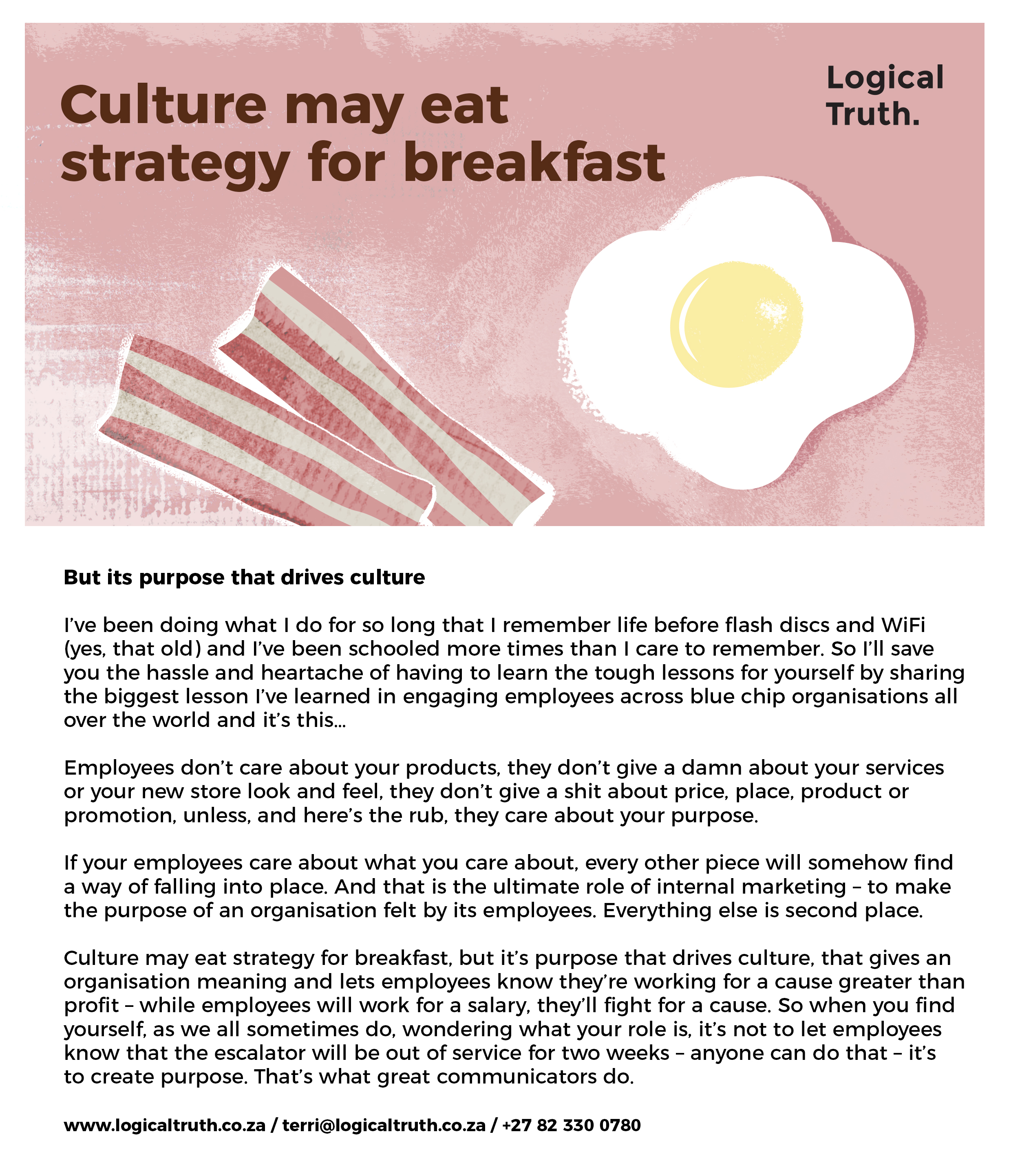 Postcard 3 breakfast - Logical Truth - Culture may eat strategy for breakfast