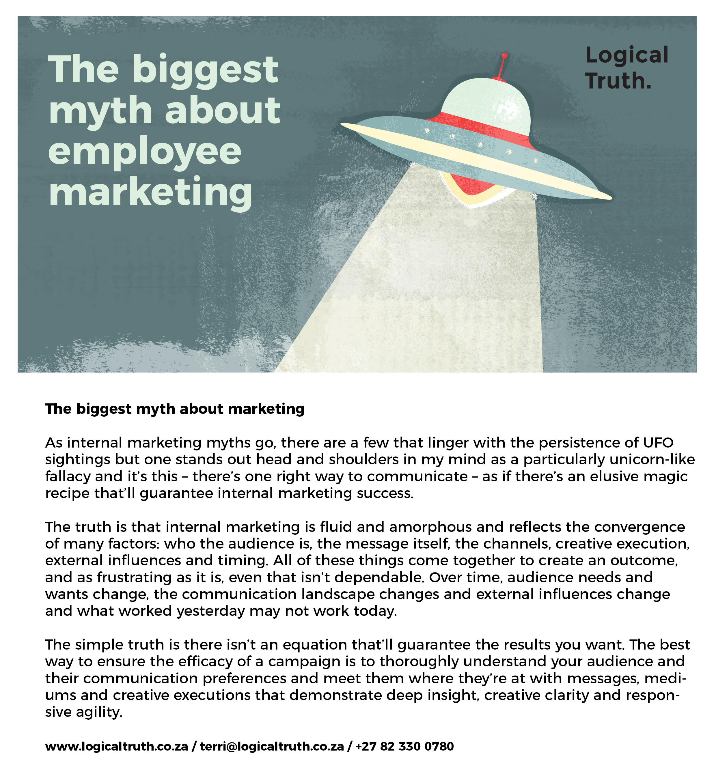 Postcard 4 v02 ufo - Logical Truth - The biggest myth about employee marketing