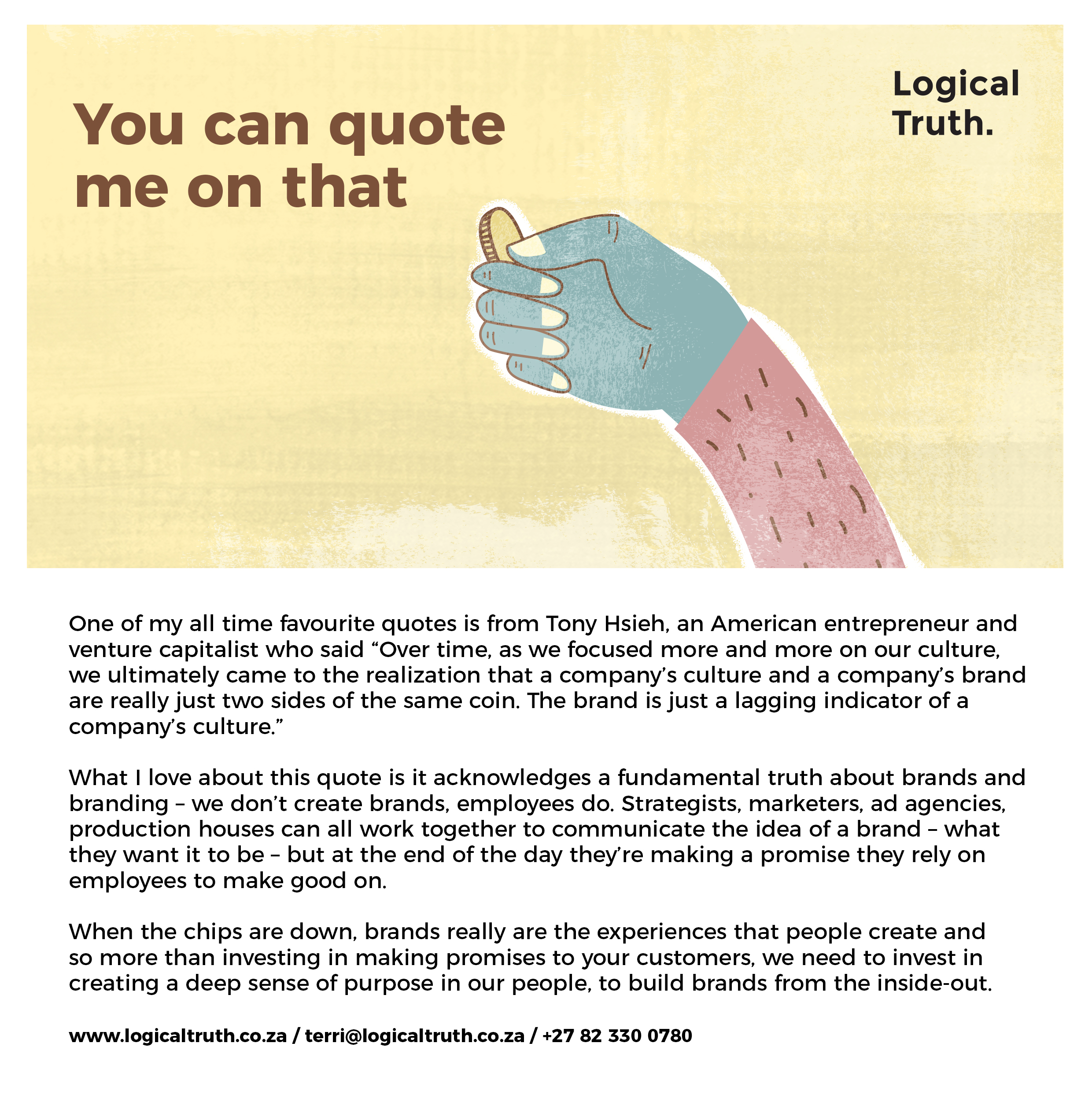 Postcard 5 coin - Logical Truth - You can quote me on that